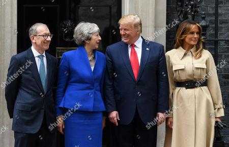 Philip May, Prime Minister Theresa May, US President Donald Trump and First Lady Melania Trump at No.10 Downing Street