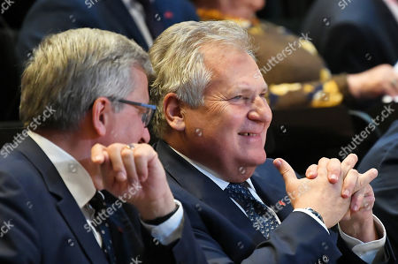 Former Polish Presidents Bronislaw Komorowski (L) and Aleksander Kwasniewski (R) attend the second day of the International Civic Forum '1989-2019: The birth of a new Europe at the European Solidarity Center in Gdansk, 04 June 2019. Poland celebrates 30th anniversary of the country's first partially-free parliamentary elections since WWII.