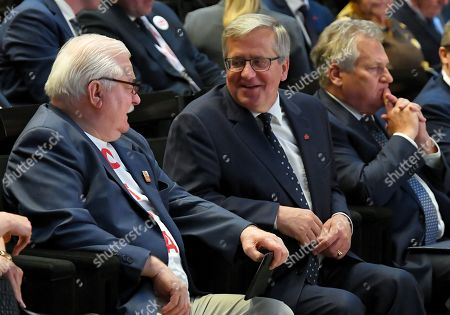 Former Polish Presidents Bronislaw Komorowski (C), Lech Walesa (L) and Aleksander Kwasniewski (R) attend the second day of the International Civic Forum '1989-2019: The birth of a new Europe at the European Solidarity Center in Gdansk, 04 June 2019. Poland celebrates 30th anniversary of the country's first partially-free parliamentary elections since WWII.