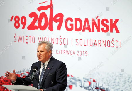 Former Polish President Aleksander Kwasniewski speaks during the second day of the International Civic Forum '1989-2019: The birth of a new Europe at the European Solidarity Center in Gdansk, 04 June 2019. Poland celebrates 30th anniversary of the country's first partially-free parliamentary elections since WWII.