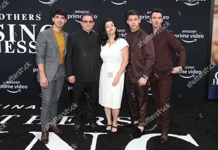 Stock Picture of Joe Jonas, Paul Kevin Jonas, Sr., Denise Miller-Jonas, Nick Jonas, Kevin Jonas