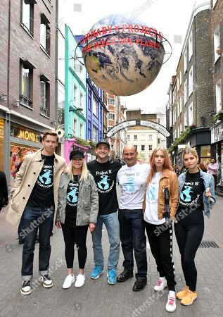 (L-R) Will Poulter, Jo Wood, Tyrone Wood, Simon Quayle, Mary Charteris and Pixie Geldof