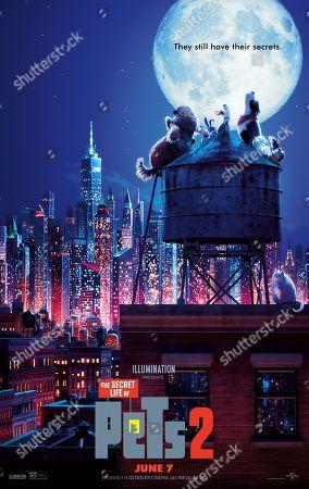 The Secret Life of Pets 2 (2019) Poster Art. Duke (Eric Stonestreet), Snowball (Kevin Hart), Max (Patton Oswalt), Rooster (Harrison Ford), Gidget (Jenny Slate), Daisy (Tiffany Haddish) and Chloe (Lake Bell)