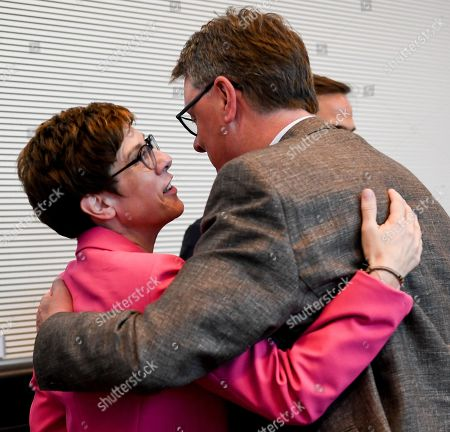Christian Democratic Union (CDU) party chairwoman Annegret Kramp-Karrenbauer (L) hugs Michael Grosse-Broemer before a joint faction meeting of Christian Democratic Union (CDU) and Christian Social Union (CSU) at the German parliament Bundestag in Berlin, Germany, 04 June 2019. The sister parties CDU and CSU gathered two days after Andrea Nahles, party chairwoman and faction leader of their Social Democratic coalition partner SPD, had announced her resignation from both positions.