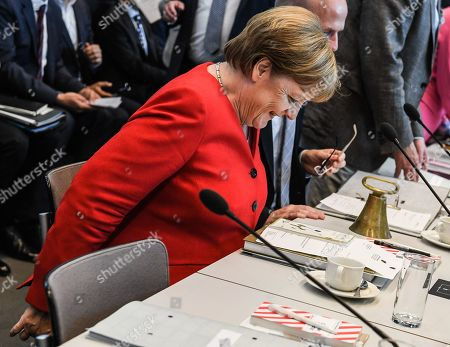 German Chancellor Angela Merkel arrives for a joint faction meeting of Christian Democratic Union (CDU) and Christian Social Union (CSU) at the German parliament Bundestag in Berlin, Germany, 04 June 2019. The sister parties CDU and CSU gathered two days after Andrea Nahles, party chairwoman and faction leader of their Social Democratic coalition partner SPD, had announced her resignation from both positions.