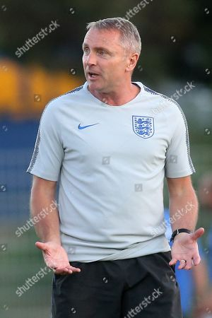England Manager, Paul Simpson, shows his frustration as he walks off the pitch at the end of the match during England Under-20 vs Portugal Under-19, Tournoi Maurice Revello Football at Stade d'Honneur Marcel Roustan on 4th June 2019