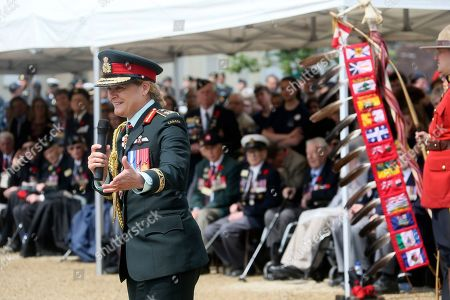 Julie Payette, Canada's General Governor, delivers her speech during a French-Canadian ceremony to commemorate the Poche de Falaise battle in Chambois, Normandy, . France is preparing to mark the 75th anniversary of the D-Day invasion which took place on June 6, 1944