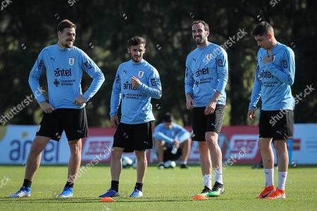 (L-R) Sebastian Coates, Marcelo Saracchi, Diego Godin and Federico Valverde participate in a training session of the Uruguayan soccer team, in Montevideo, Uruguay, 04 June 2019. Uruguayan national team will play a friendly match on 07 June against Panama at the Centenario stadium in Montevideo.