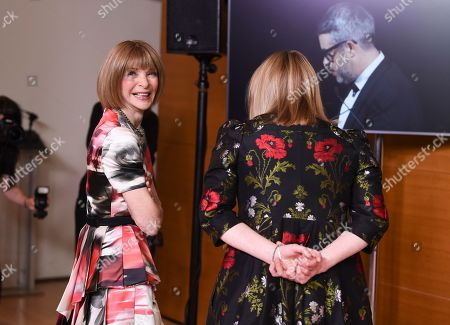 Anna Wintour, Sarah Burton. Vogue editor Anna Wintour, left, and designer Sarah Burton backstage at the CFDA Fashion Awards at the Brooklyn Museum, in New York