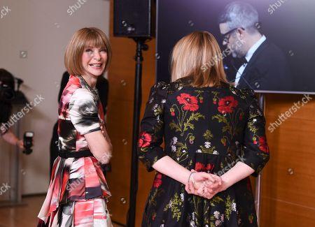 Anna Wintour, Sarah Burton. Vogue editor Anna Wintour, left, and designer Sarah Burton backstage at the CFDA Fashion Awards at the Brooklyn Museum, in New York