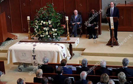 Richard Shelby, Patrick Lehay, Barry Black. U.S. Sen. Richard Shelby, R-Ala., right, speaks during the funeral service for the late Republican senator Thad Cochran, while U.S. Sen. Patrick Lehay, D-Vt., left, and Adm. Barry Black, chaplain of the U.S. Senate, wait their turn, at Northminster Baptist Church in Jackson, Miss., . Cochran was 81 when he died Thursday in a veterans' nursing home in Oxford, Mississippi