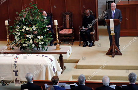 Richard Shelby, Patrick Lehay, Barry Black. U.S. Sen. Patrick Leahy, D-Vt., right, speaks during the funeral service for the late Republican senator Thad Cochran, while U.S. Sen. Richard Shelby, R-Ala., left, and Adm. Barry Black, chaplain of the U.S. Senate, wait their turn, at Northminster Baptist Church in Jackson, Miss., . Cochran was 81 when he died Thursday in a veterans' nursing home in Oxford, Mississippi. He was the 10th longest serving senator