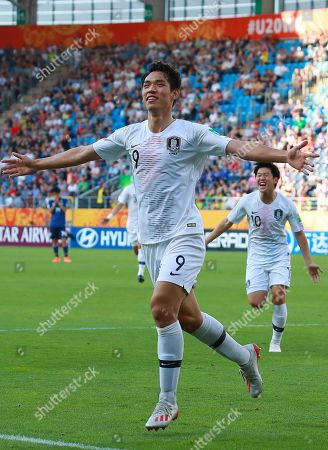 South Korea's Oh Se-hun celebrates after scoring during the FIFA Under-20 World Cup 2019, Round of 16 match between Japan and South Korea at the Arena Lublin in Lublin, Poland, 04 June 2019.