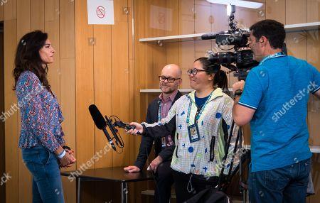 Stock Picture of Gabriela Sabatini talks to the media at the 2019 Roland Garros Grand Slam tennis tournament