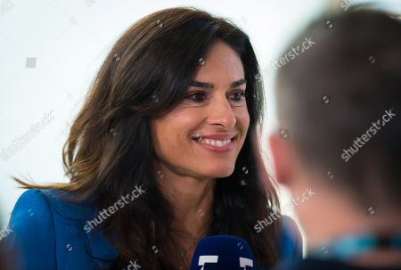 Stock Image of Gabriela Sabatini talks to the media at the 2019 Roland Garros Grand Slam tennis tournament