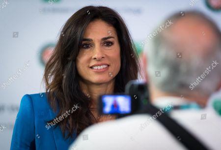 Stock Photo of Gabriela Sabatini talks to the media at the 2019 Roland Garros Grand Slam tennis tournament