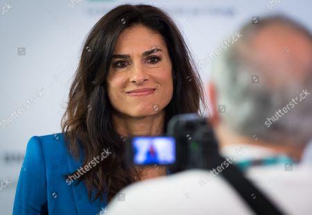 Gabriela Sabatini talks to the media at the 2019 Roland Garros Grand Slam tennis tournament