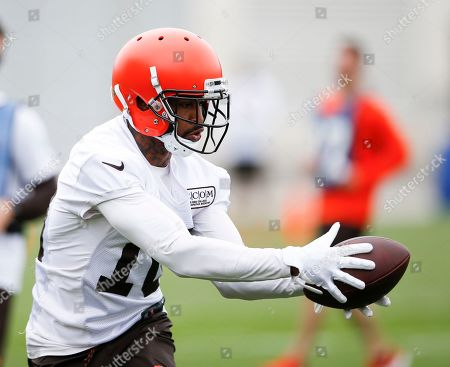 Cleveland Browns wide receiver Jaelen Strong runs a drill at the team's NFL football training facility in Berea, Ohio