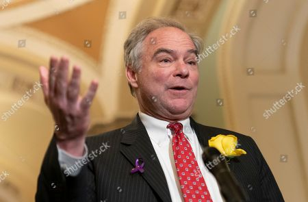 United States Senator Tim Kaine (Democrat of Virginia) speaks to the media after attending policy luncheon