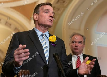 United States Senator Mark Warner (Democrat of Virginia) and United States Senator Tim Kaine (Democrat of Virginia) speak to the media after attending policy luncheon