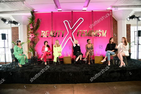 "From left to right, Marie Lodi, Dr. Kay Durairaj, Nurse Jamie, Jaime King, Sarah Kunst, Catt Sadler and Amber Venz Box participate in a panel discussion about beauty and feminism on in Los Angeles for the @xeominaesthetic ""Later Haters"" campaign, calling for women to ""X"" out the judgment"