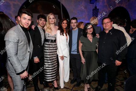 Stock Photo of Nick Jonas, Joe Jonas, Sophie Turner, Danielle Deleasa, Kevin Jonas, Denise Miller-Jonas, Paul Kevin Jonas, Sr.