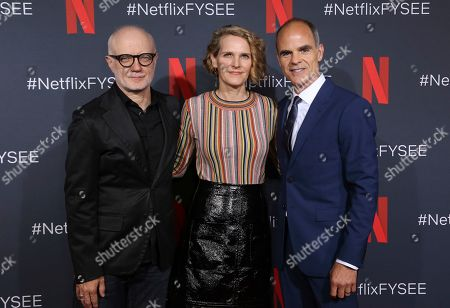 """Melissa James Gibson, Frank Pugliese, Michael Kelly. Melissa James Gibson, from left, Frank Pugliese and Michael Kelly attend the Netflix's """"House of Cards"""" FYC event at the Raleigh Studios, in Los Angeles"""