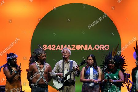 Brazilian composer Caetano Veloso (C) along with 342amazonia, Midia Ninja and Greenpeace attends the launch event of the first mobile application for environmental activism in the country in Rio de Janeiro, Brazil, 04 June 2019.
