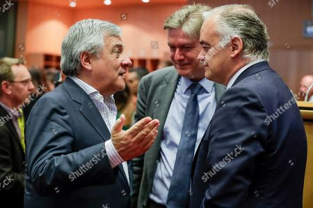 The President of the European Parliament Antonio Tajani (L) and Spanish Delegation spokesman for the Popular Party in the European Parliament, Esteban Gonzalez Pons (R) attend an EPP group meeting to elect the group Vice-Chairs at the European Parliament in Brussels, Belgium, 05 June 2019.