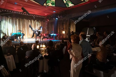 Stock Picture of Kelli Barrett as Liza Minelli, Michelle Williams as Gwen Verdon and Sam Rockwell as Bob Fosse