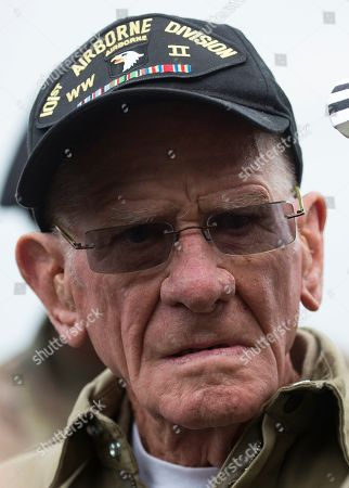 US WWII 101st Airborne paratrooper veteran, Tom Rice, 97, is seen after completing a commemorative tandem parachute jump over the town of Carentan  near the Normandy coast ahead of the 75th D-Day anniversary, in Carentan,  France, 05 June 2019. On 06 June 1944 in the Second World War, the allied forces invaded northern France by means of beach landings in Normandy.
