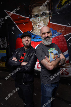 Comic Artists Tom Taylor (Marvel) and Dean Rankine (The Simpsons) pose for portraits in AC/DC Lane in Melbourne, 05 June 2019. Australia's largest pop culture gathering, Oz Comic-Con, takes place in Melbourne on the 8th and 9th of June, at the Melbourne Convention and Exhibition Centre.