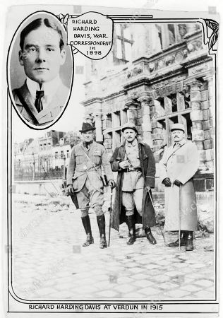 Richard Harding Davis (1864-1916), American journalist at Verdun, with two other men, in 1915, and insert of head-and-shoulders portrait of Davis in 1898.