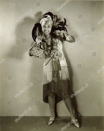 Ethel Waters (1896-1977), in a 1929 publicity still promoting her as most famous of all colored musical comedy stars, who will be the guest artist of the Vitaphone Jubilee Hour.