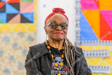 Faith Ringgold with Windows of the Wedding #9 and 3, all 1974