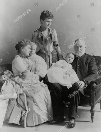 Four generations of the Benjamin Harrison family in the White House, c. 1889. L-R: First Lady Caroline Harrison holding Baby McKee