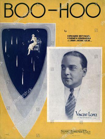 Boo-Hoo, sheet music for song by Edward Heyman, Carmen Lombardo, John Jacob Loeb, popularized by Vincent Lopez, circa 1930s.