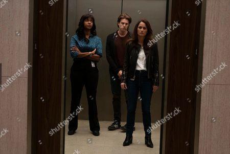 Merrin Dungey as CJ Emerson, Alex Saxon as Gabriel Johnson and Robin Tunney as Maya Travis
