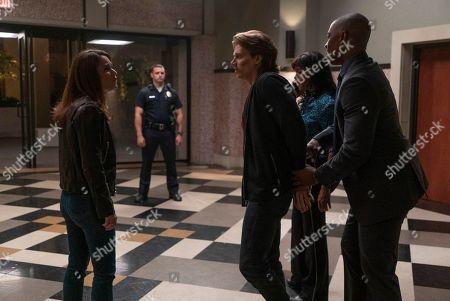 Robin Tunney as Maya Travis, Alex Saxon as Gabriel Johnson, Merrin Dungey as CJ Emerson and Robbie Jones as Detective Vincent North