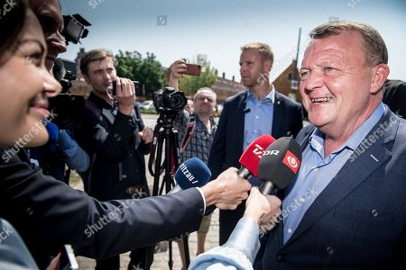 Danish Prime Minister Lars Lokke Rasmussen from the Liberal Party speaks to journalists outside his local polling station in Denmark, 05 June 2019. Denmark is heading to the polls to elect a new parliament, the Folketing.
