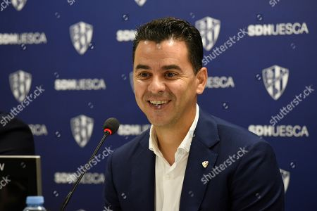 Miguel Angel Sanchez ?Michel?, the new head coach of SD Huesca, attends a press conference during his presentation in Huesca, Spain, 05 June 2019. Huesca will play in the Spanish Segunda Division next season.