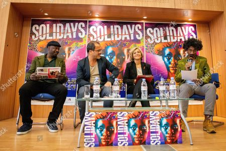 MC Solaar, Luc Barruet creator and director of the association 'Solidarite Sida' and 'Solidays', Valerie Pecresse and Sebastien Folin during a press conference for the music festival Solidays which occurs on the weekend of 21 June