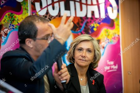 Stock Image of Valerie Pecresse, president of the Ileana Cabra de France region council during a press conference for the music festival Solidays which occurs on the weekend of 21 June