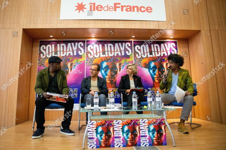 Stock Picture of MC Solaar, Luc Barruet creator and director of the association 'Solidarite Sida' and 'Solidays', Valerie Pecresse and Sebastien Folin during a press conference for the music festival Solidays which occurs on the weekend of 21 June