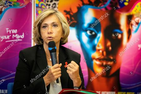 Stock Picture of Valerie Pecresse, president of the Ileana Cabra de France region council during a press conference for the music festival Solidays which occurs on the weekend of 21 June