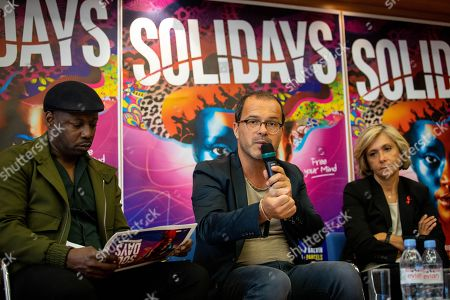 Stock Photo of MC Solaar, Luc Barruet creator and director of the association 'Solidarite Sida' and 'Solidays' and Valerie Pecresse during a press conference for the music festival Solidays which occurs on the weekend of 21 June
