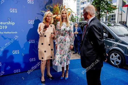 Ivanka Trump (C) poses next to Sigrid Kaag (L), Dutch Minister for Foreign Trade and Development Cooperation as the American ambassador to the Netherlands Pete Hoekstra (R) looks on as they arrive at the World Forum for Global Entrepreneurship Summit (GES), in the Hague, Netherlands, 05 June 2019. The daughter and advisor of US President Donald Trump participates in the closing event and talks about the rights of women worldwide.