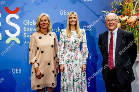 Ivanka Trump (C) poses next to Sigrid Kaag (L), Dutch Minister for Foreign Trade and Development Cooperation and the American ambassador to the Netherlands Pete Hoekstra (R), as they arrive at the World Forum for Global Entrepreneurship Summit (GES), in the Hague, Netherlands, 05 June 2019. The daughter and advisor of US President Donald Trump participates in the closing event and talks about the rights of women worldwide.