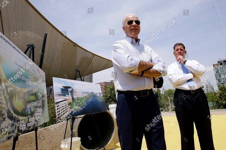 Joe Biden, Marty Walsh. Former vice president and Democratic presidential candidate Joe Biden speaks, beside Boston Mayor Marty Walsh, right, and renderings of a park in being constructed in Boston in honor of Martin Richard, the youngest victim of the 2013 Boston Marathon bombings