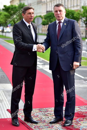 President of Slovenia Borut Pahor (L) welcomes president of Latvia Raimonds Vejonis (R) at the opening of the summit 'Three Seas Initiative' in Ljubljana, Slovenia 05 June 2019. Slovenia hosts the four summit 'Three Seas Initiative' on 05 - 06 June 2019.